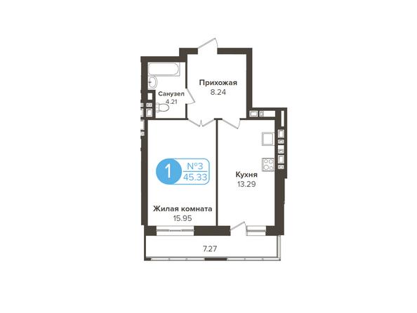 Планировки Жилой комплекс ОГНИ СИБИРИ, дом 2 - 1-комнатная 45,33 кв.м