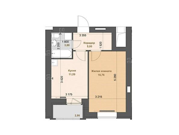 1-комнатная 37.23 - 37.24 кв.м