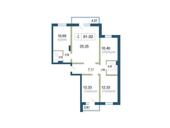 Планировка 4-комн 91, 91,02 м²