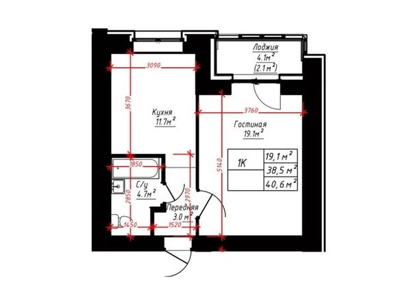 1-комнатная 40.6 кв.м
