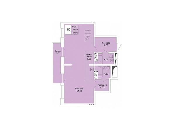 Планировки Жилой комплекс РАСЦВЕТАЙ НА МАРКСА, дом 1 - 1-комнатная студия хайфлэт 107,96 кв.м