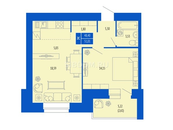 2-комнатная 49.93; 51.01 кв.м