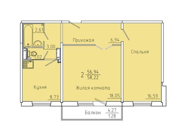 Планировки Жилой комплекс Иннокентьевский, 3 мкр, дом 6 - Планировка двухкомнатной квартиры 58,22 кв.м