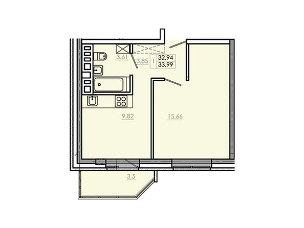 Планировки Жилой комплекс Новое Ново-Ленино, б/с 30-32 - Планировка однокомнатной квартиры 36,44 кв.м
