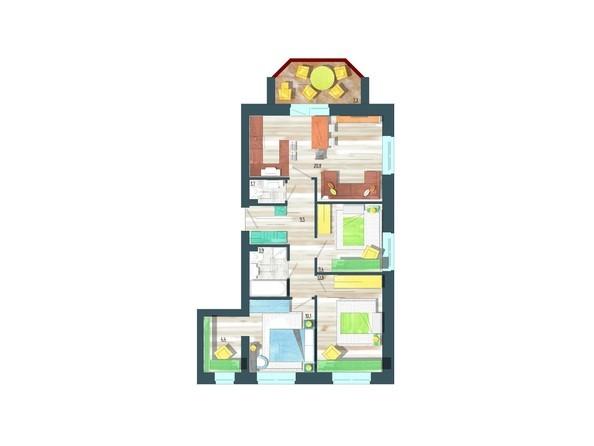 Планировки Жилой комплекс ЖИВЁМ эко-район, 10 квартал, дом 1 - Планировка четырехкомнатной квартиры 76,9 кв.м