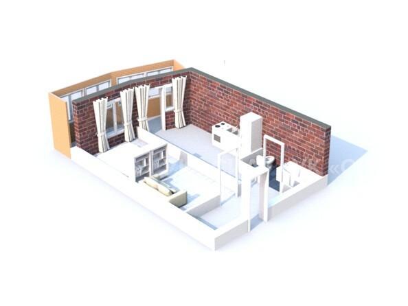 Планировки Жилой комплекс ГЛОБУС, дом 8 - 3d-макет однокомнатной квартиры 42 кв.м