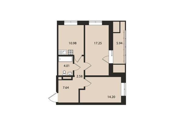 Планировки Жилой комплекс ВДОХНОВЕНИЕ - Планировка двухкомнатной квартиры 62,6 кв.м
