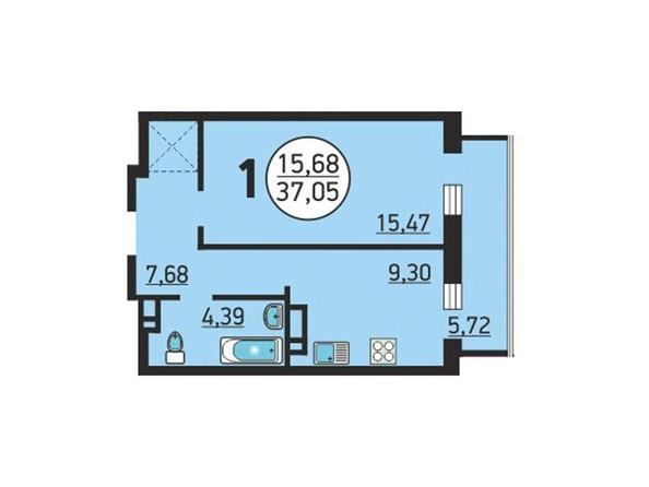 Планировка 1-комн 37,05 м²