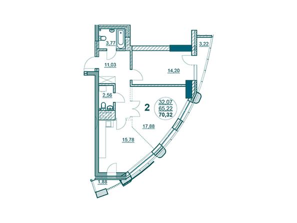 Планировки Жилой комплекс ФЛОТИЛИЯ - 2-комнатная 70,32 кв.м блок Б