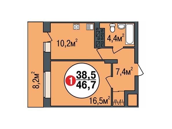 Планировки Жилой комплекс ПОКРОВСКИЙ, б/с 3, 4, 5 - Планировка однокомнатной квартиры 46,7 кв.м