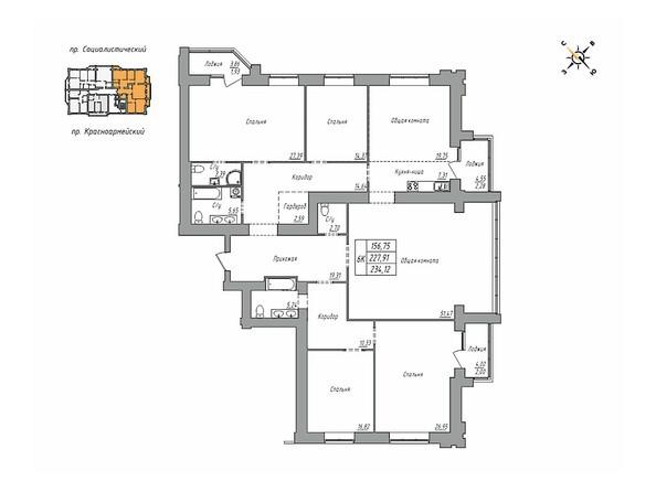 Планировки Жилой комплекс ЦЕНТРАЛЬНЫЙ, корпус 1 - Планировка шестикомнатной квартиры 234,12 кв.м