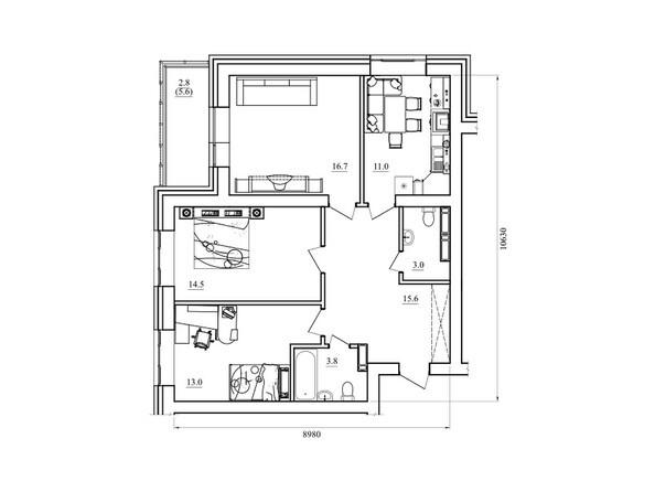 Планировка трехкомнатной квартиры 80,4 кв.м