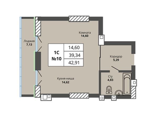 Планировки Жилой комплекс PRIME HOUSE (Прайм хаус) - Планировка однокомнатной квартиры 39,34 кв.м