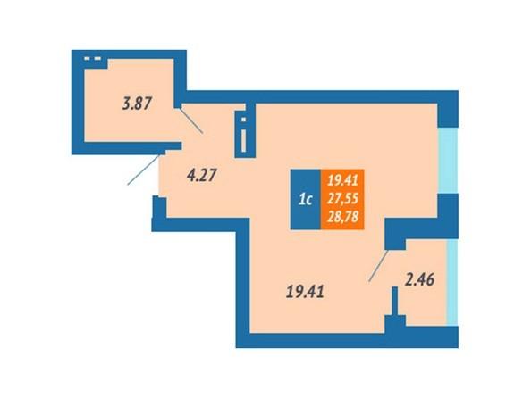 Планировка Студия 28,78 м²