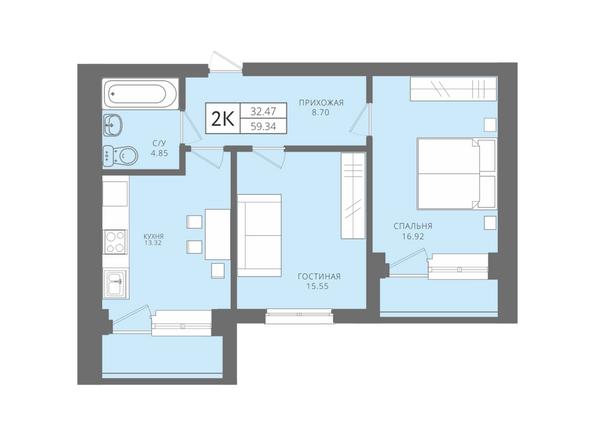 Планировки Жилой комплекс Да Винчи, дом 5 - 2-комнатная 59,34 кв.м