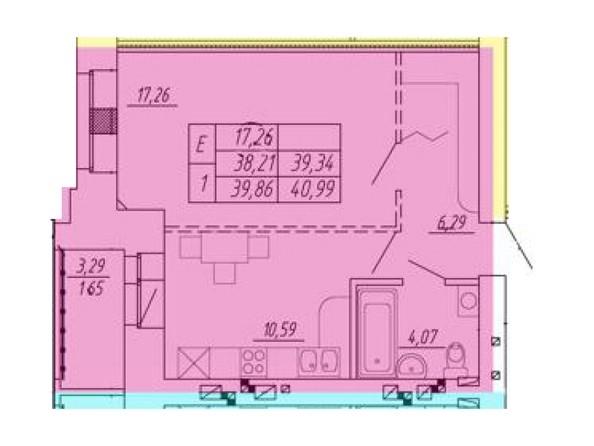Планировка 1-комн 38,21 - 40,99 м²