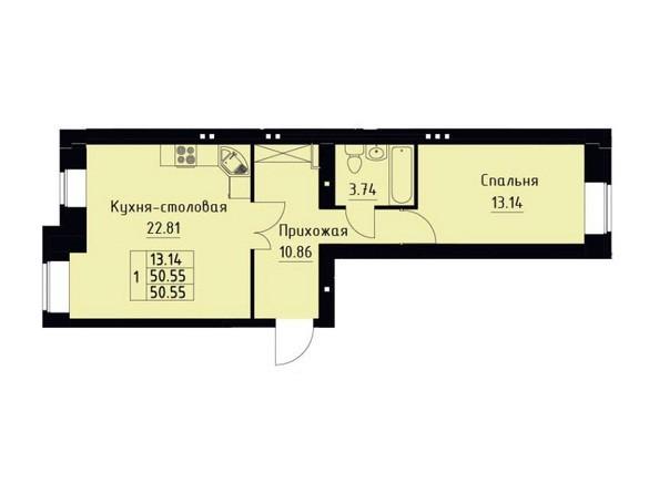 Планировка 1-комн 50,55 м²