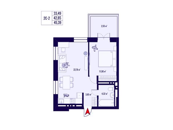Планировка 2-комн 42,85, 45,39 м²