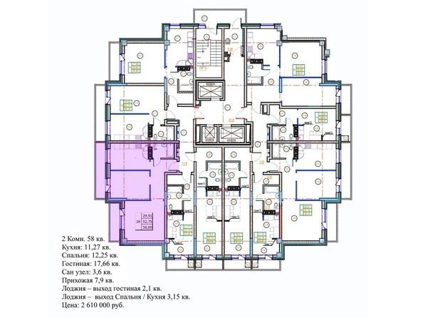 Планировки Жилой комплекс ГЛОБУС ЮГ, дом 9 - 2-комнатная 58 кв.м.
