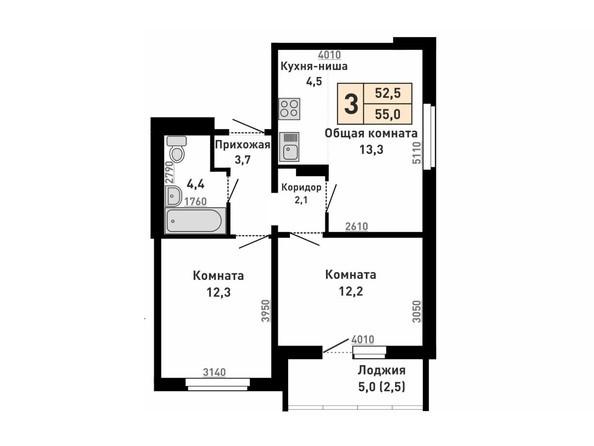 Планировка 2-комн 52,5, 55 м²