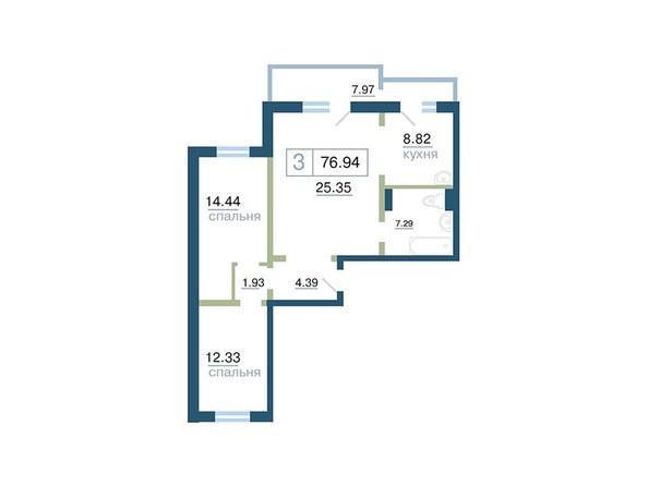 Планировка 3-комн 76,94 м²