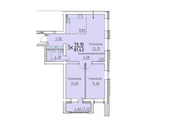 3-комнатная 81.43; 79,1 кв.м