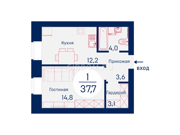 Планировки Микрорайон SCANDIS (Скандис), дом 1 - Планировка однокомнатной квартиры 37,7 кв.м
