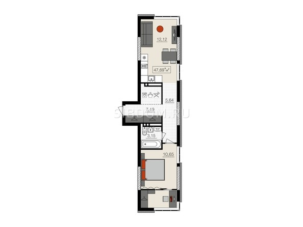 Планировки НОВЫЙ КВАРТАЛ, корпус 1 - 2-комнатная 47,69 кв.м.