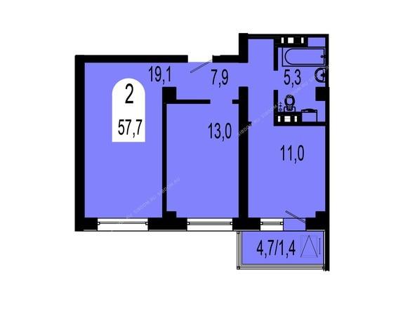 Планировки Жилой комплекс ТИХИЕ ЗОРИ, дом 1 (Красстрой) - Планировка двухкомнатной квартиры 57,7 кв.м