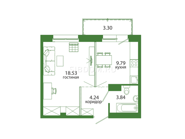 Планировка 1-комн 39,7 м²