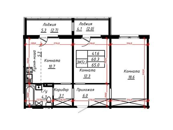 3-комнатная 65 кв.м