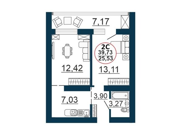 Планировка 2-комн 39,73 м²