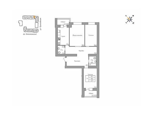 Планировки Жилой комплекс ДВЕ ЭПОХИ, корпус 3 - 3-комнатная 97,7 кв.м