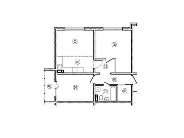 Планировки ВЕРХНИЙ БУЛЬВАР-2, дом 60, корпус 1 - 2-комнатная 62,1 кв.м