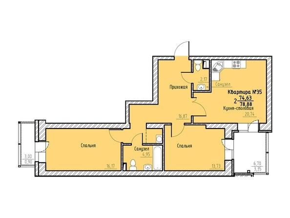 Планировка 2-комн 78,88 м²