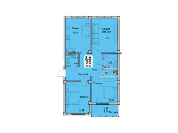 3-комнатная 83,96 кв.м