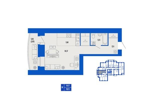 1-комнатная 38.15 кв.м