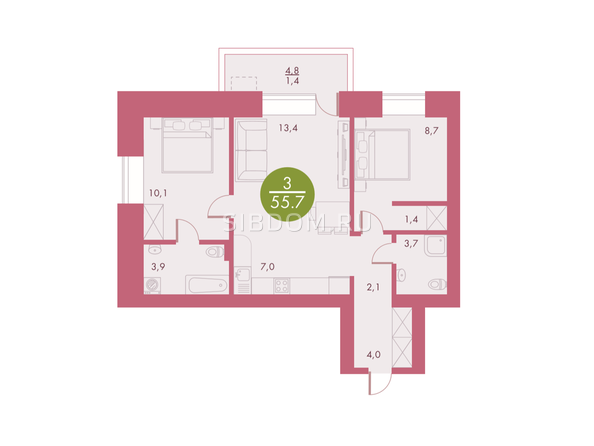 Планировки Жилой комплекс Арбан SMART (Смарт) на Шахтеров, д 2 - Планировка трехкомнатной квартиры 55,7 кв.м