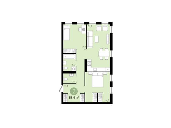 2-комнатная 68,4 кв.м