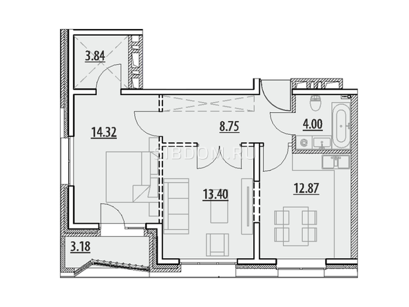 Планировка 2-комн 60,31 - 60,75 м²