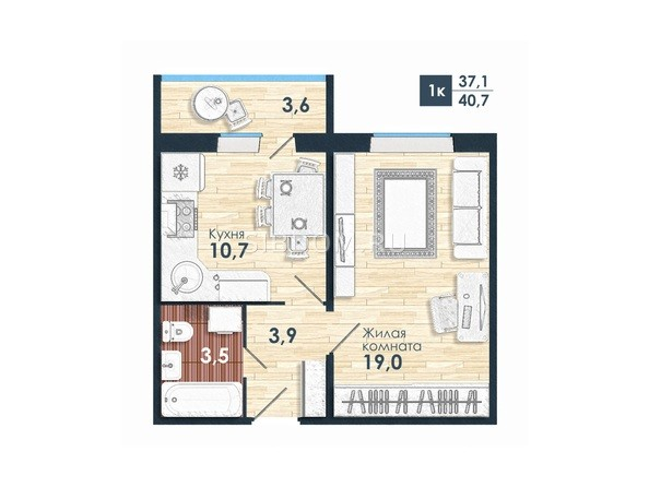 Планировка 1-комн 40,7 м²