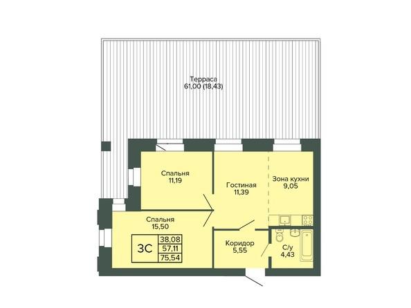 Планировка 3-комн 75,54 м²