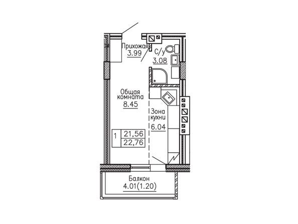1-комнатная 22.76; 22.86 кв.м