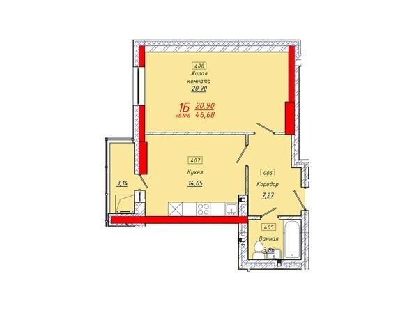 Планировки Жилой комплекс КЛАРУС-ПАРК - Планировка однокомнатной квартиры 46,68 кв.м.