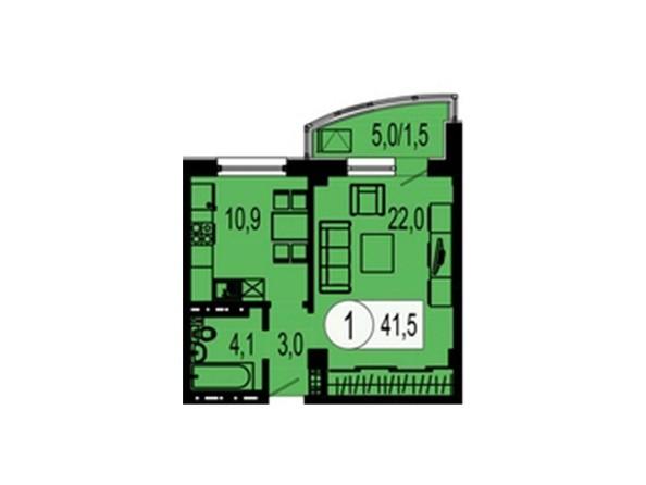 Планировка 1-комнатной квартиры 41,5 кв.м