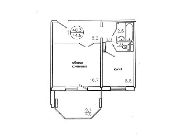 Планировки Жилой комплекс Караульная, 6 дом, 3 оч - Планировка однокомнатной квартиры 44,9 кв.м. (левая сторона)