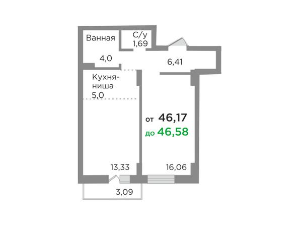 Планировки Жилой комплекс ЯСНЫЙ БЕРЕГ, дом 10, б/с 1-3  - Планировка двухкомнатной квартиры 46,58 кв.м