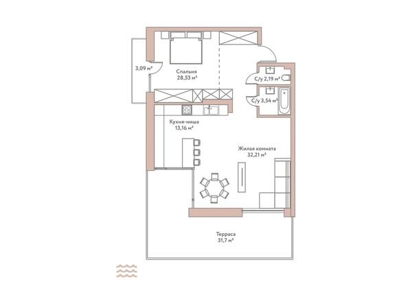 Планировка 2-комн 83,18 м²