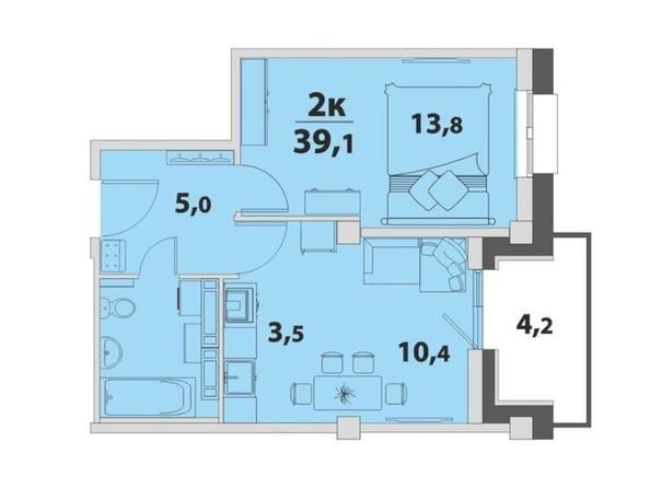 2-комнатная 39.1 кв.м