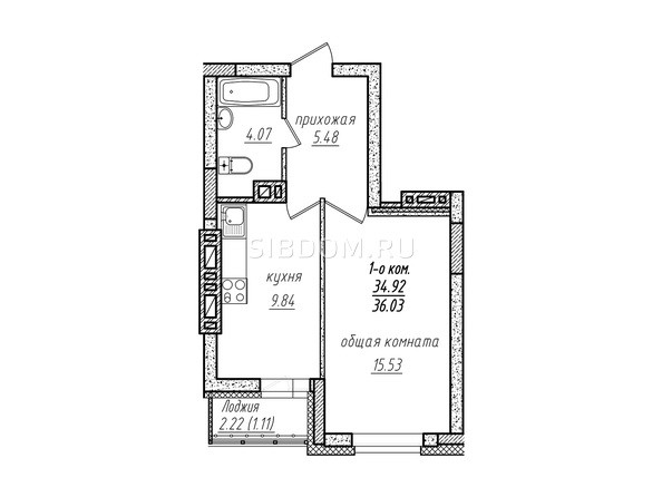 1-комнатная 36.03 кв.м